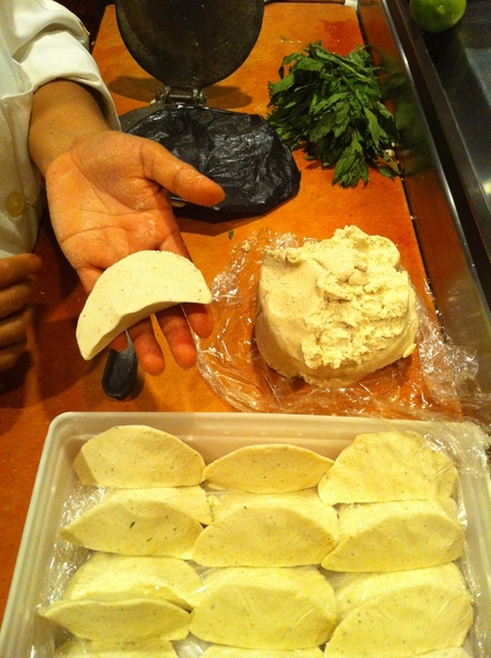 Maria makes incredible little fresh masa quesadillas w Chihuahua cheese & epazote. Ready for the fryer