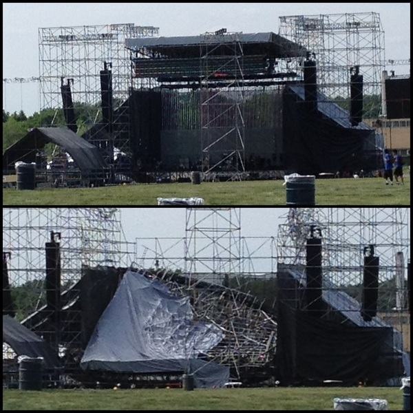 Before & after photo stage collaps prior #Radiohead #Toronto concert, one death, three wounded. v/ @zakeaa