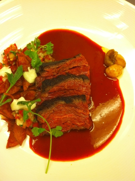 Possible new dish4next Topolo Celebration Menu: wagyu skirt with guajillo, potato chilaquiles, bone marrow
