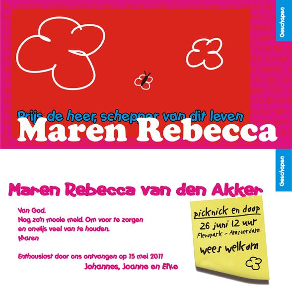Geboortekaartje Maren Rebecca