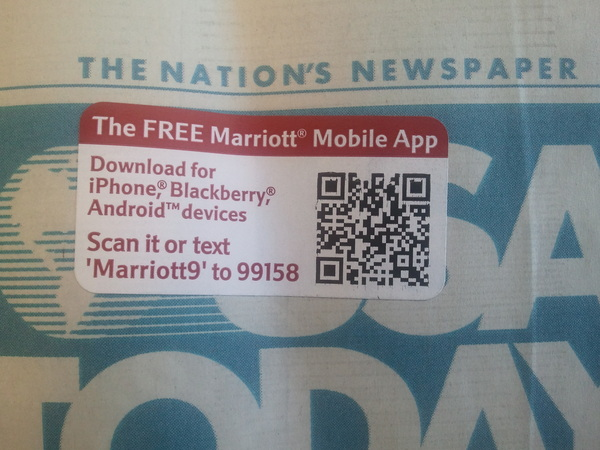 Great example of mobile best practices, adding an SMS keyword to a QR Code. No phone left behind!