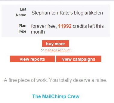 "MailChimp legt de lat hoog na versturen e-mail campagne: ""A fine piece of work. You totally deserve a raise. """