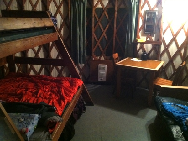 Spending tonight in a yurt.