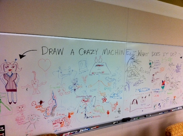 Draw Your Crazy Machine Doodle Wall at Intel's Bring Your Kids to Work Day.