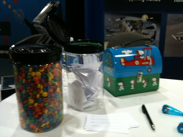 TEAM J-TECH guess number of m@m's and win Snoopy lunchbox booth 2211 #west10