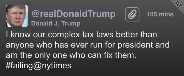 "Yeah, see, @realDonaldTrump, this is kinda the problem. Also you should avoid the word ""fix.""  #TaxDodger #Dipshit"