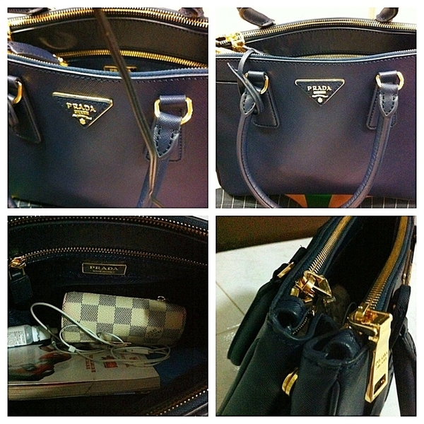 433f54fb431c ... denmark prada lux saffiano tote in navy blue w gold hard ware by jxiet  . 763c2