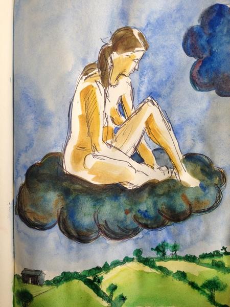 """""""Away"""" biro and watercolour in sketchbook"""