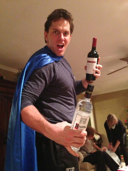 At one point in the night I received a bottle of kettle a bottle of wine and a legit superhero cape! Things may get weird!