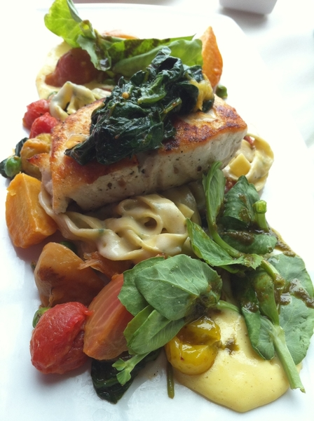 Went to Monterey Bay Aquarium resto for lunch. Remarkably good local sea bad with homemade pasta.  Chef David!
