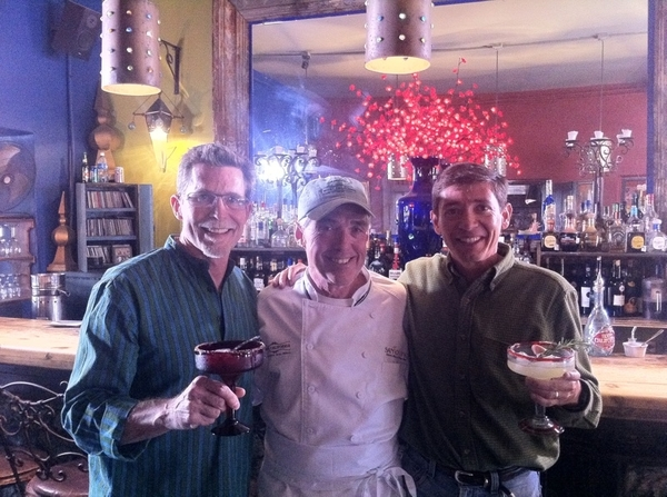Chef Dany from Hotel California is making damiana margaritas and jamaica margs for friend Sergio and me