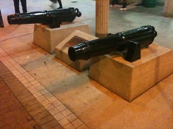 Two old European cannons in Mei Foo