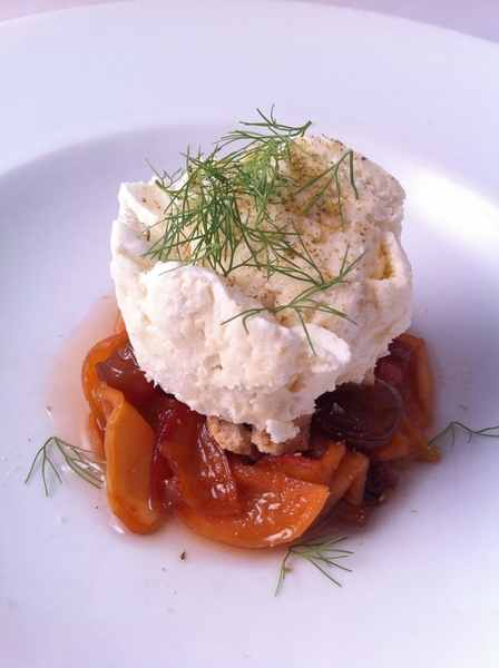 "Dessert for Veg tasting menu: melcocha ""espuma"", Compote of  Masumoto Farm dried peaches & Seedling white cherries"