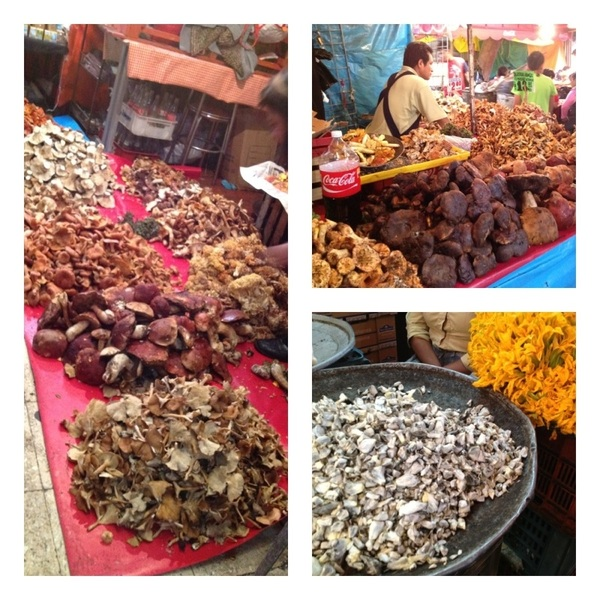 Merced Mkt, DF: wild mushrooms (cepes, lobsters for $3/#!!), gorgeous huitlacoche and squash blossoms