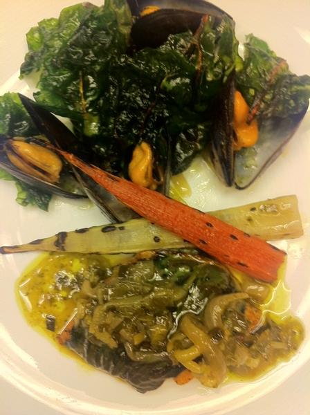 Pos new Baja Menu dish: corvina,olive-wood smkd mussels,chard 3 ways (crisp,sauté,grld stems),güero gr garlic mojo