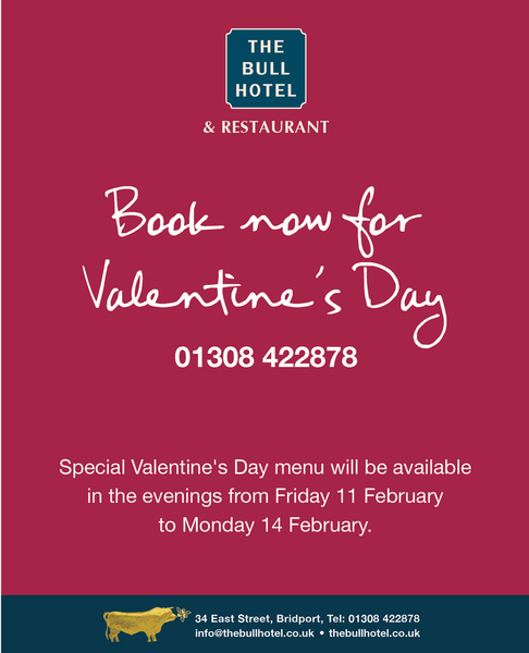 Celebrate Valentine's Day @TheBullHotel this evening, rooms and tables still available - just! Book now on 01308 485421