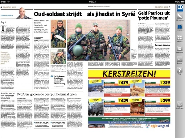 [screenshot] #Kerstreizen naast 'vakantie' #Syrië in Eindhovens Dagblad