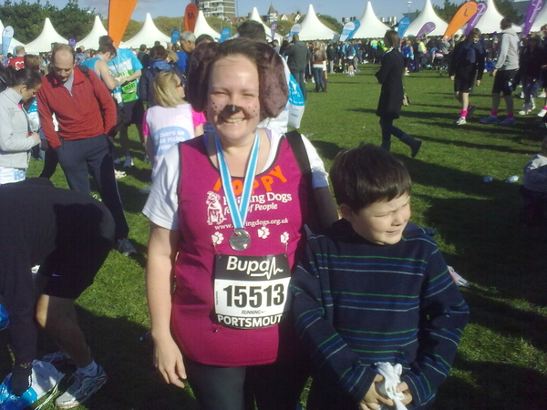 Mrs H completed Great South Run for @HearingDogs in 1:51:29, smashing her target of 2hrs!