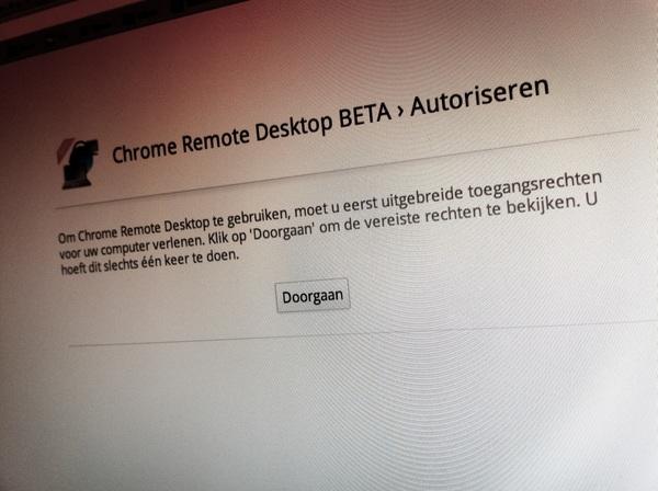 Weer een nieuw product van Google. Remote desktop vanuit de browser. Handig.