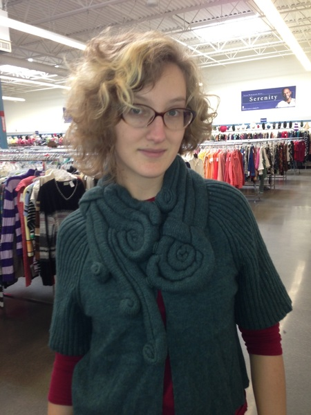 Yesterday I helped @Sfaierie find a Cthulhu sweater at goodwill. #fb