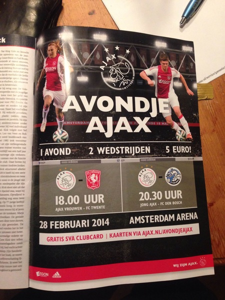 Gezien in de VI: Avondje Ajax. 5 euro