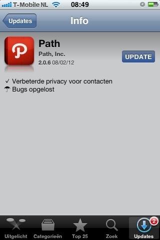 #Path en de manier waarop ze omgaan met privacy: nieuw software update voor de #iPhone >