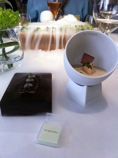Fat Duck standout: moss-flavored strip on tongue>nitro poured on moss to create aroma>food arrives