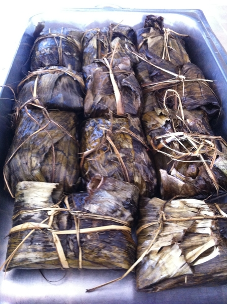 Roberto Solis Progreso bfast: tamales colados (smooth polenta-style tamales) filled w lobster, roasted in ban lvs