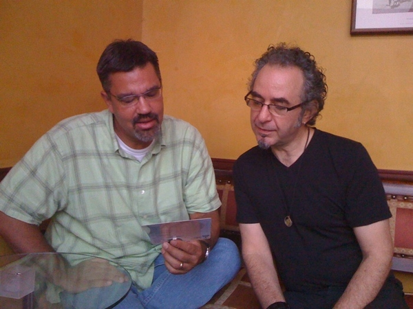 looking across from @markdeymaz and @alanhirsch studying the dinner menu