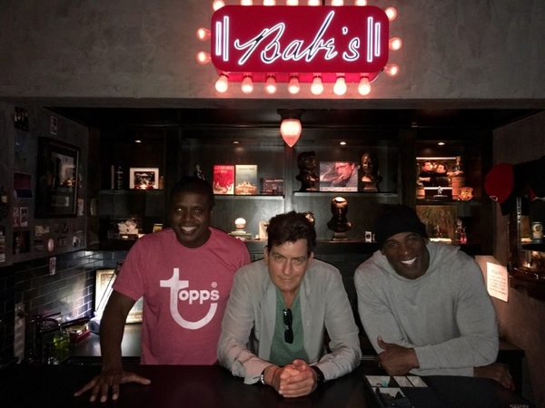 """hangin' in  """"Babe's""""  Tony and I, under the neon, with Deion.... © #EpicPrimeTime 💯"""
