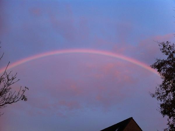 Mooie regenboog aan de boterkorfhoek in Enschede #buienradar