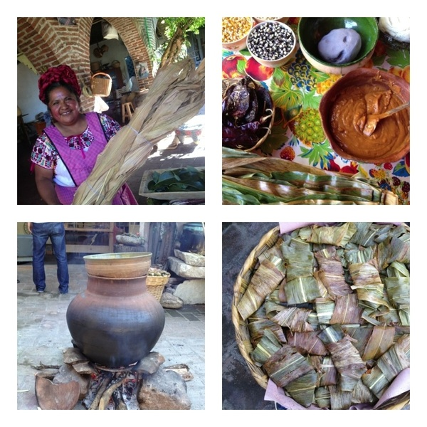 MOPAT#9: Abigail Mendoza, Teotitlan: corn leaves 4 tamales; mise 4 yellow mole tamales, steamer pot, finished tamales
