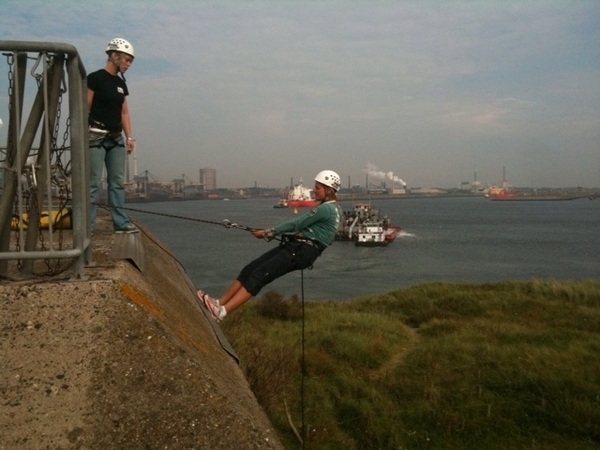 Me abseling from very high rock at Forteneiland IJmuiden... pretty cool