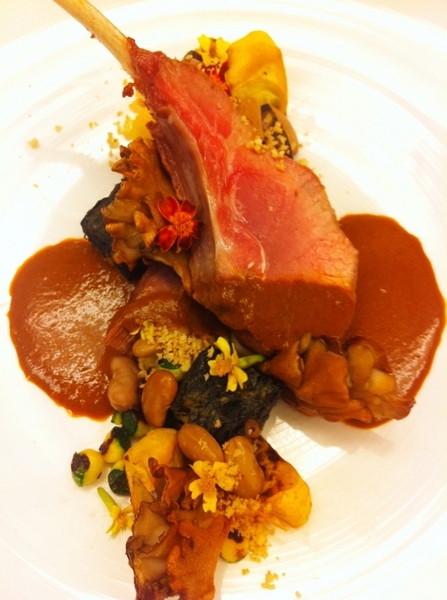 Poss new Topolo dish of all Precolumbian ingred:wild boar(rstd chop, braised shldr),pasilla-pecan-cacao sce,tatume