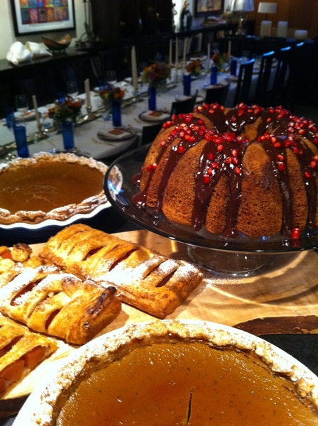 Daughter home from college, helping with desserts: pear cake w choc drizzle, pumpkin pie, poached quince bar tarts