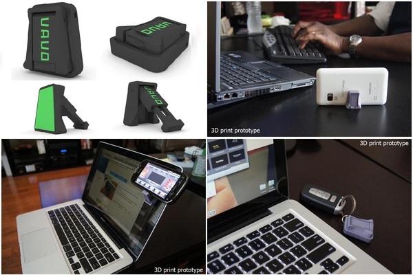 【珍アイテム】 Vavo Portable Phone Stand 超コンパクトなスマートフォン用のスタンド。使わない時はキーホルダーに。壁に貼り付け可能。粘着は洗うと復活。[動画]http://youtu.be/qUaucrLV-6Q
