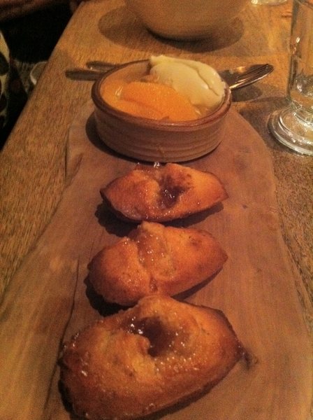 Harwood Arms: warm marmalade cakes w sour crm, oranges, whisky jellies; other:btrmilk pudng, aprcots, mead jellies