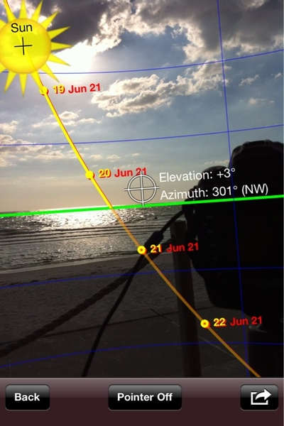 Superb app for iPhone shows me where sun will be at certain time. Sunseeker. Great for time-lapse etc #fb