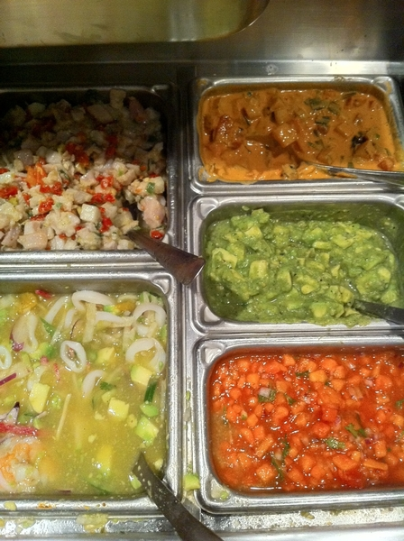 Elfego's mise-en-place for dinner service: three ceviches and cured salmon with roasted peanut-arbol salsa