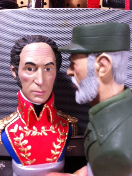 """(In the morning) """"Pssst! Simón! I think Chávez is feeling a lot better today! He asked for coffee & baseball tickets!"""""""