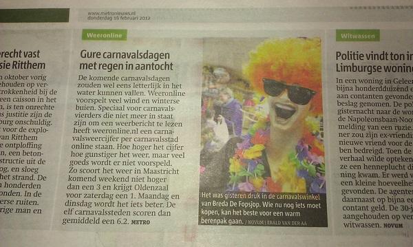 Metro: Weeronline - Gure carnavalsdagen verwacht