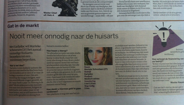 Earlydoc feature in Volkskrant!
