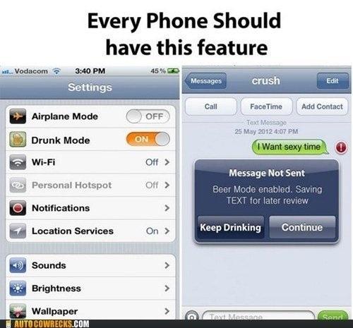 『Drunk Mode』(要JB) 設定アプリ内に追加され、オンにすることでメッセージを送信しようとしてもアラートが表示されて送信が出来なくなります。 お酒に酔って何が何やらわからない間にメッセージを送ってしまう・・などを防止。