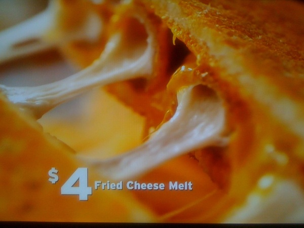 WHAT? Denny's Fried Cheese Melt: Fried Cheese sticks IN  grilled cheese sandwich. $4. I can feel my  arteries clogging.