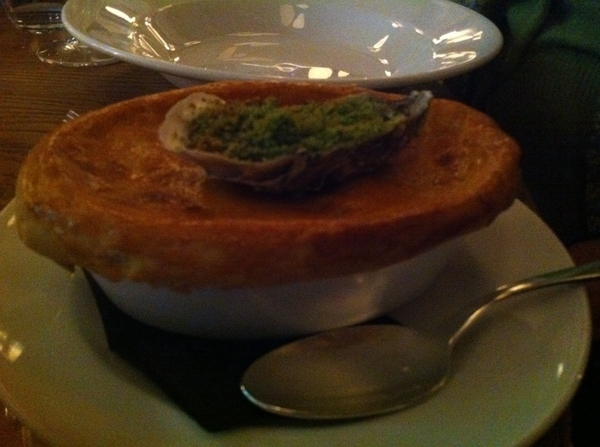 Hix: steak and oyster pie (that's a baked oyster on top of the pie's crust)