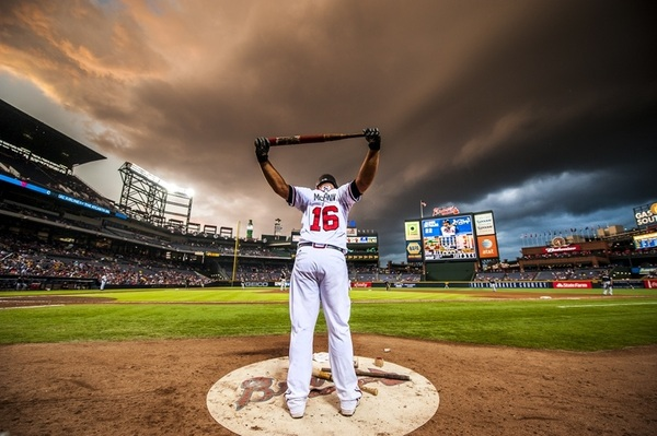Photo of the Day:  A storm was brewing over Turner Field after McCann went yard last night. Via @BravesPhoto.