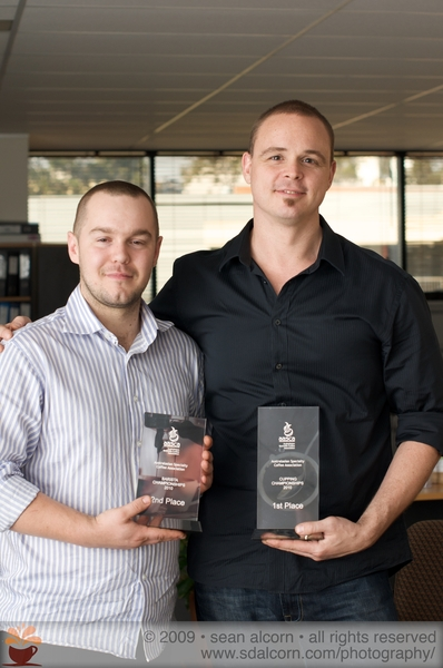 Well deserved! - Brad; runner up NSW Barista Championship & Anthony; NSW Cupping Champion! :-)