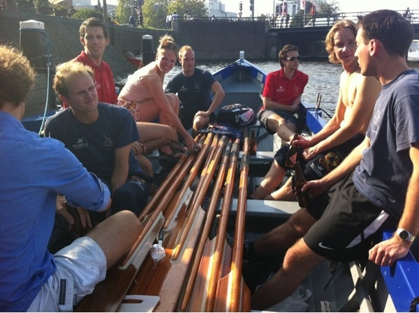 Enjoying a great beer in the sun after rowing from Muiden to Amsterdam. Next week race in Amsterdam!
