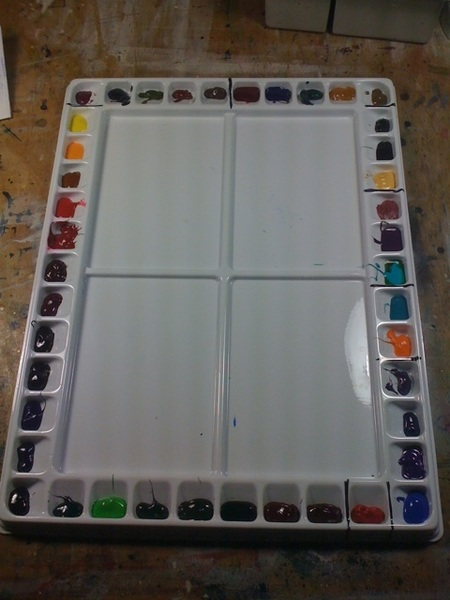 Super-anal organised my w/c palette - trans, semi-trans, semi-op., staining, granulating; it's all together. #awesome