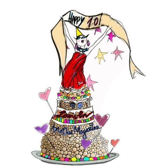 "Alber Elbaz's Lanvin birthday cake for ""Eat the Designers"" Another Magazine's 10th birthday cake celebration #lfw"
